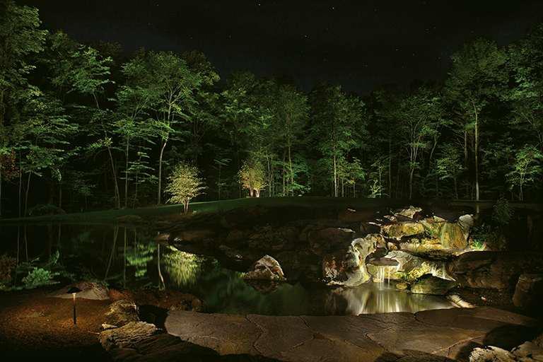 OPENER_waterfall_night - 6 Principles Of Lighting Water Features