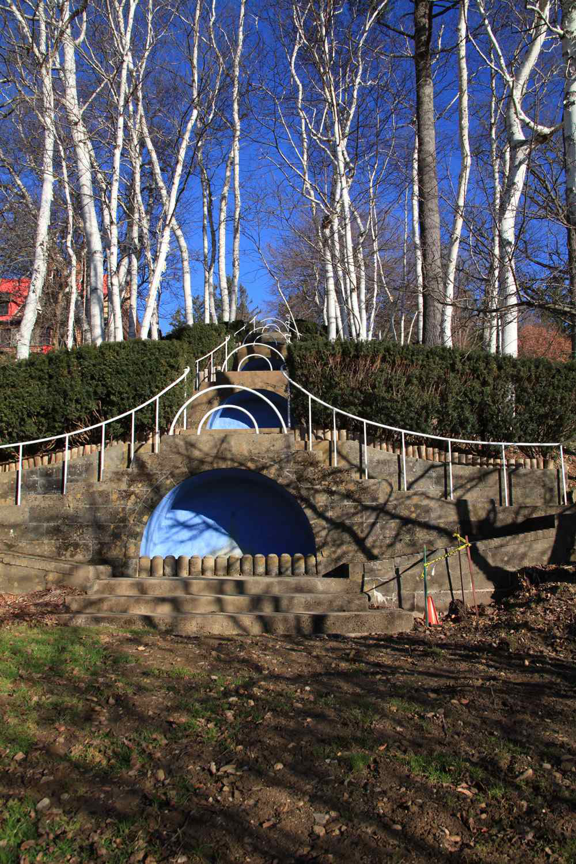 Blue Steps To Success: Historic Landmark Sees Beginning Of Landscape Renovation