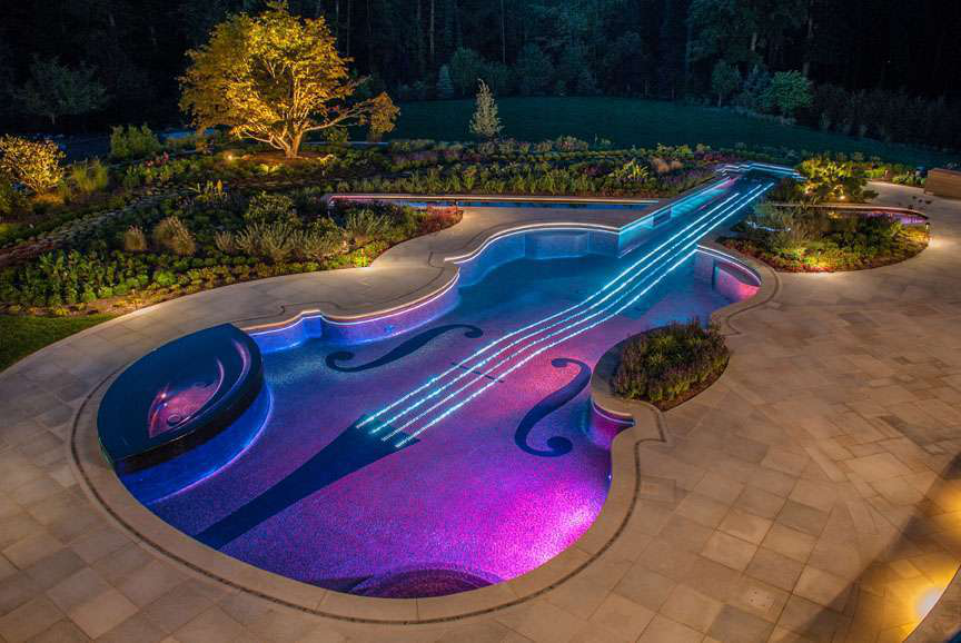 Luxury Swimming Pool Design And Installation Award Bergen County NJ LED  Lights