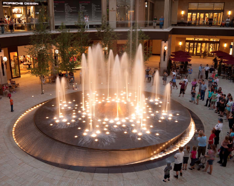 Transforming city center with water fire features for Wet garden designs