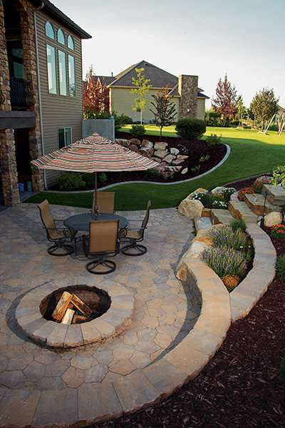 Springfalls Nursery U0026 Landscaping Used Natural Steps With Belgard Mega  Arbel Pavers For This Backyard Patio