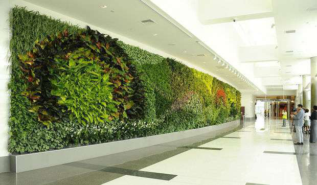 Birmingham unveils largest green wall in u s airport for Green room birmingham