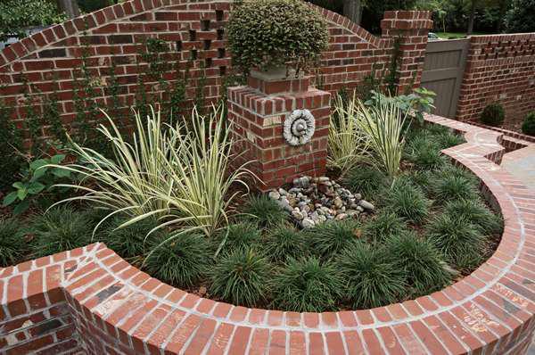 brick entrance with greener