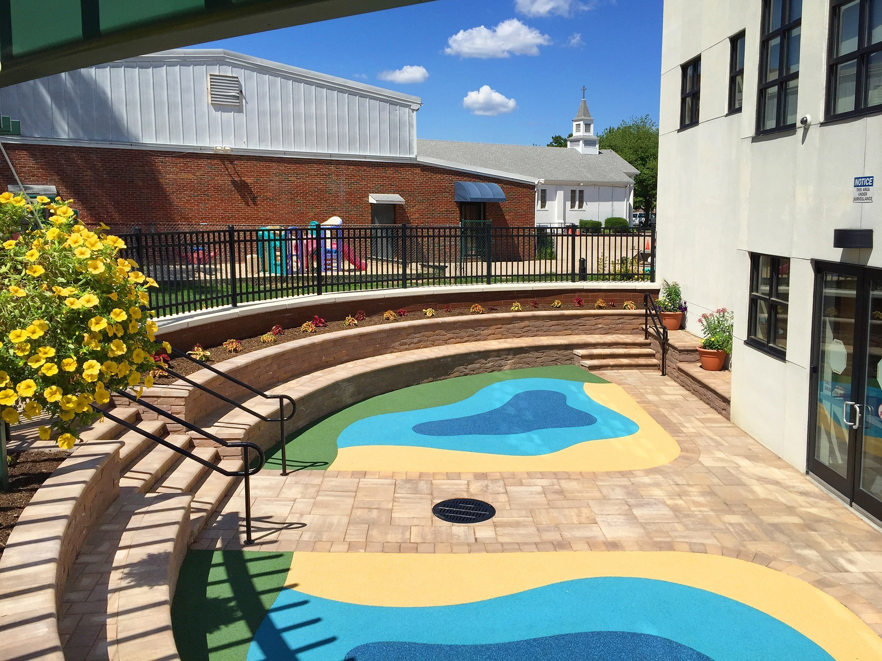 The 540 Square Foot, Semi Circular Safety Surface Play Area Is Constructed