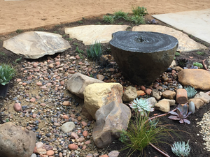 This water feature is an n example of using a detailed focal point of interest set against a background of simple shapes. Photo: Ketti Kupper