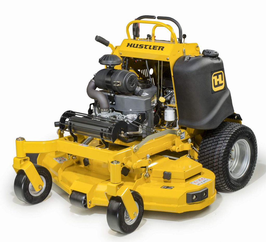 Hustler touts the SS stand-on's compact stance, both for tight work spaces and for trailering. Photo: Hustler Turf Equipment