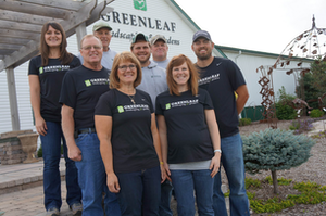 Several members of the Schuster family are involved in Greenleaf Landscaping & Gardens. Pictured, from left, in the front row are Dorene Schuster and daughter Monica Hanson; second row, Ken Schuster, son Bill Schuster and son-in-law Bryan Nowak; and third row, the Schuster's daughter Genine Nowak and Ken's brothers, Gregg and Warren Schuster. Photo: Marcia Gruver Doyle
