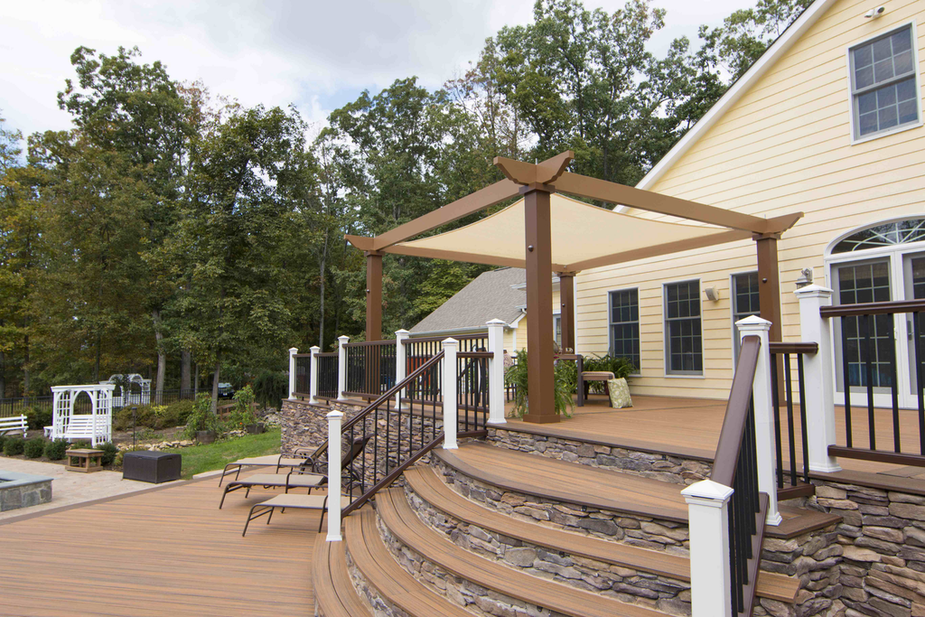 """This Trex Pergola """"Vision"""" model uses a tensioned canopy to provide shade,  but - Trex Pergola Adds Three More Options To Its Kit Lineup"""