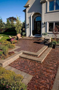 This brick front entrance features the herringbone pattern.