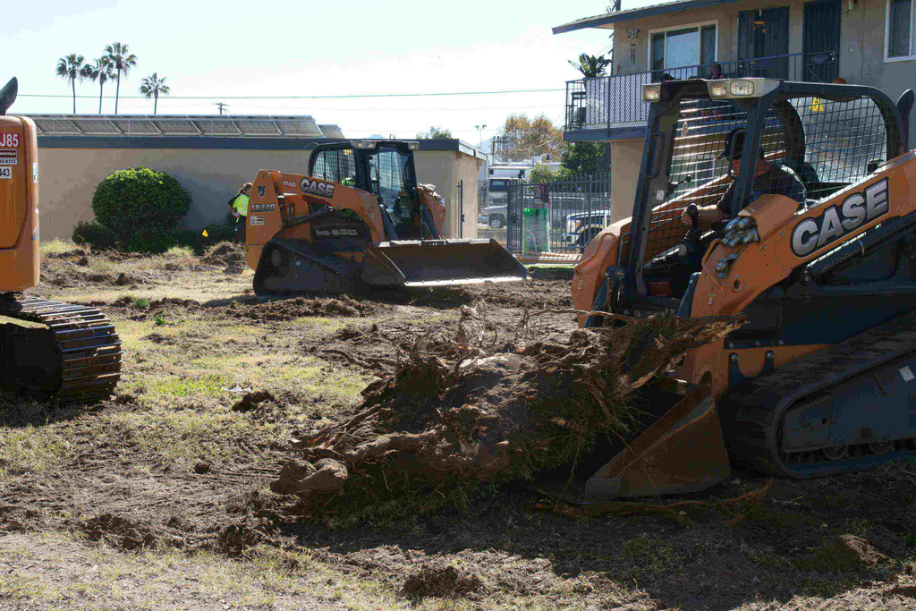 An excavator and compact track loaders from Case were used to assist in earthmoving and hardscaping for the project.
