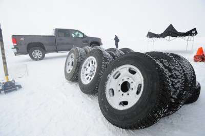 Pickup snow tires go tread-to-tread in icy competition