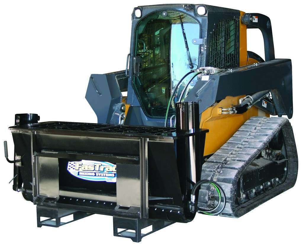 Because the attachment weighs less than 750 pounds, it won't surpass a skid steer's lifting capacity even when the mixer is full, the manufacturer says.