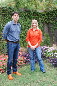 Tom Butchko talks with the company's lead designer, Cherlyn Reeves, who joined Tom's Outdoor Living in 2014.
