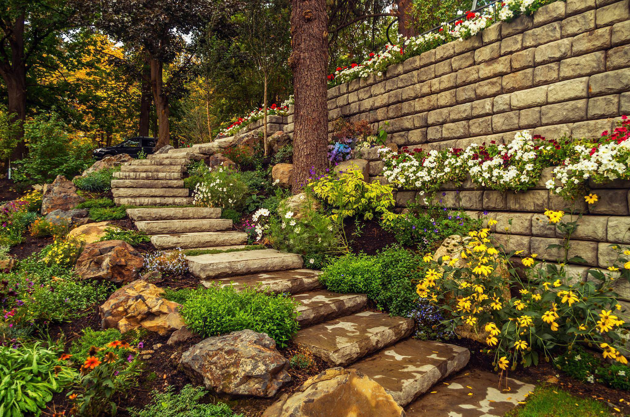Redi Rock Retaining Wall And Steps