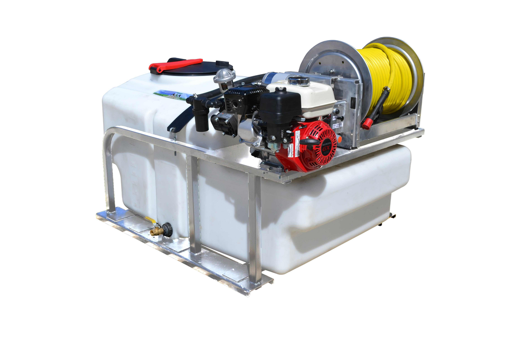 Master Manufacturing's new 200-gallon sprayer is powered by a Honda GX200 engine.