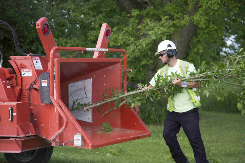 Mobark's ChipSafe Safety Shield Device Installed on a Wood Chipper