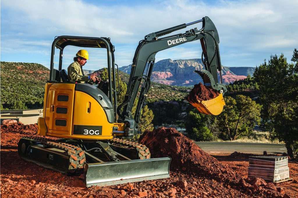 John Deere Compact Excavator in Operation on Work Site