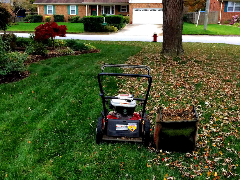 lawn mower and leaf catcher