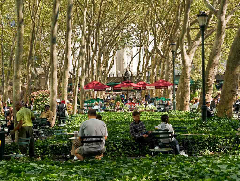 New York city's Bryant park in the heart of manhattan