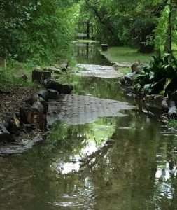flooded park before porous pave