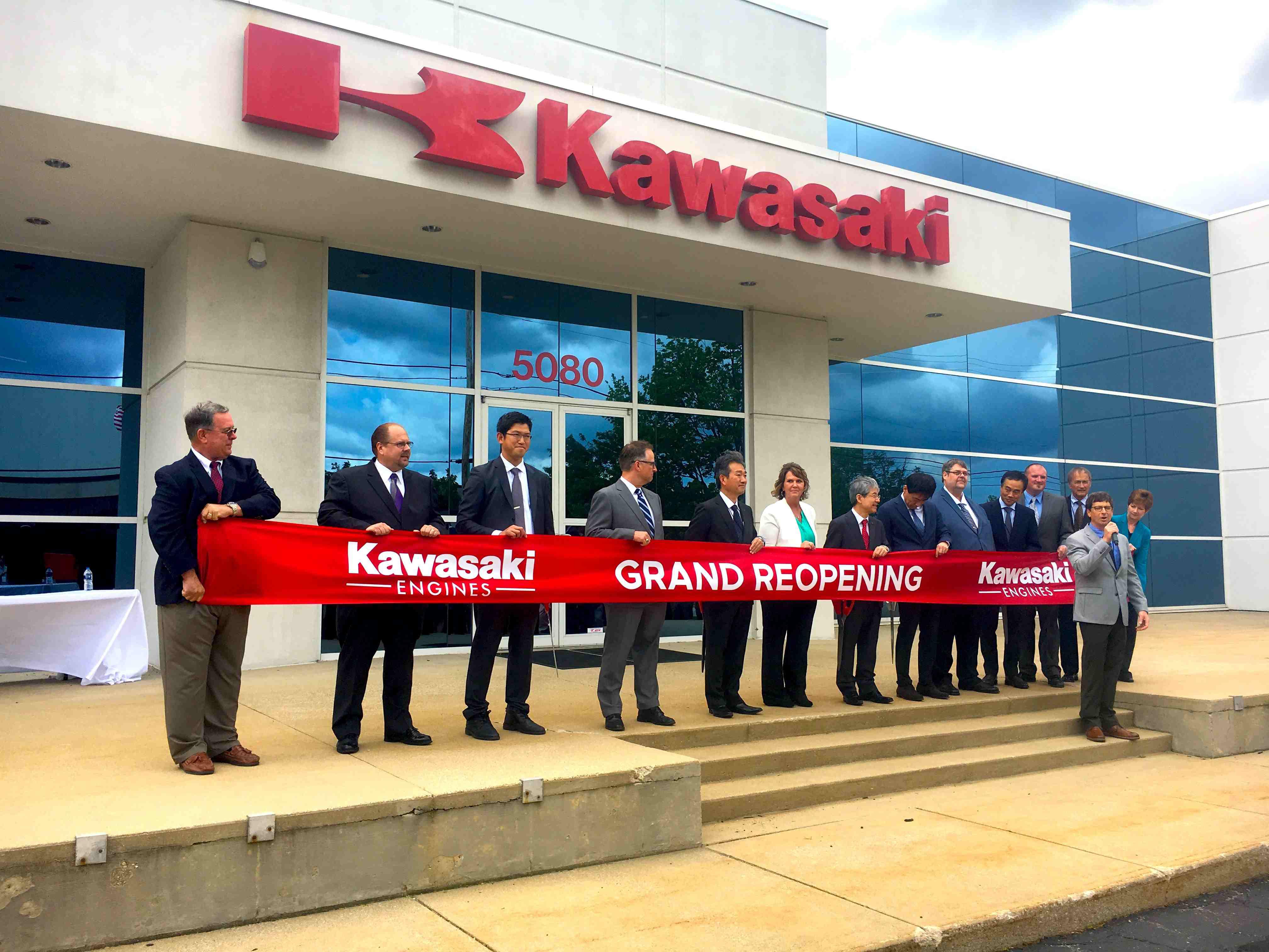 kawasaki grand reopening with managers and executives