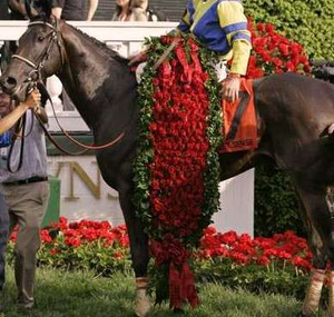 winner of kentucky derby receiving roses