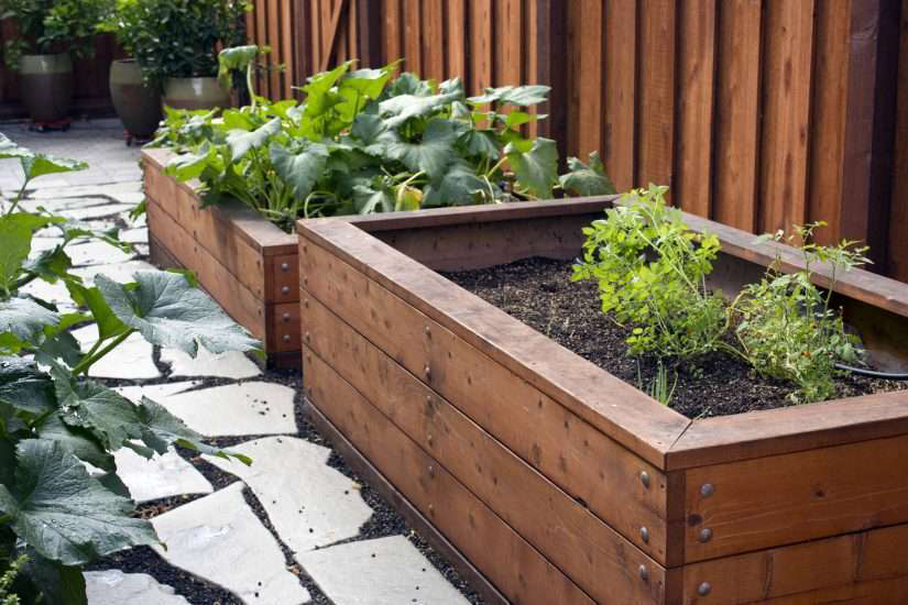 Redwood Boxed Planters For Raised Gardening