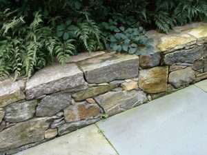 wall of stone in garden