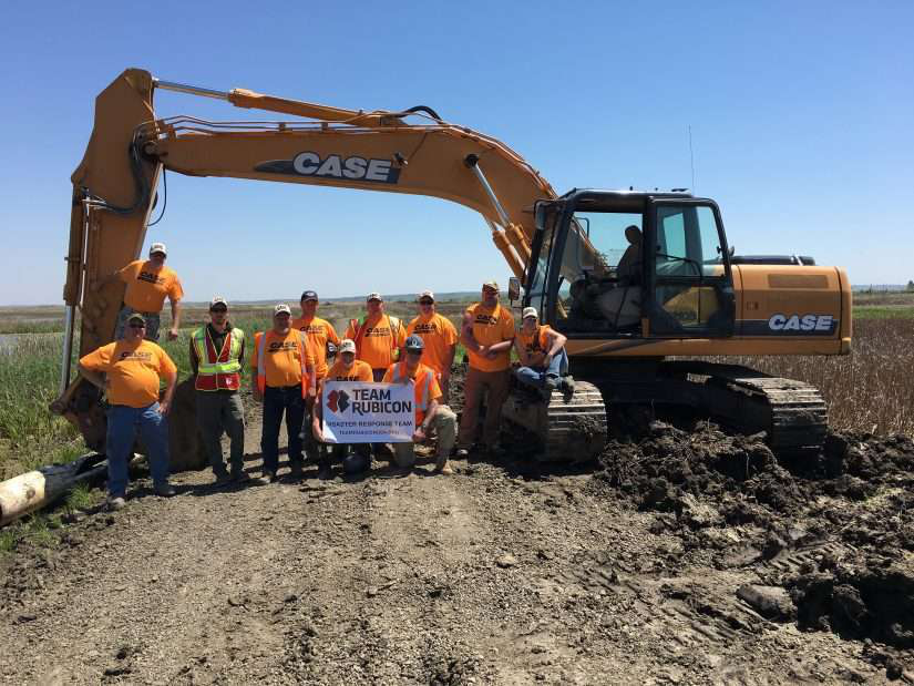 veteran led disaster response team rubicon with case construction equipment