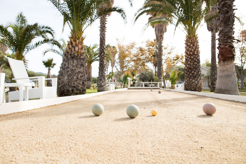 tropical bocce ball court