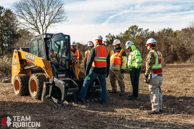 team rubicon works with Case Construction Equipment