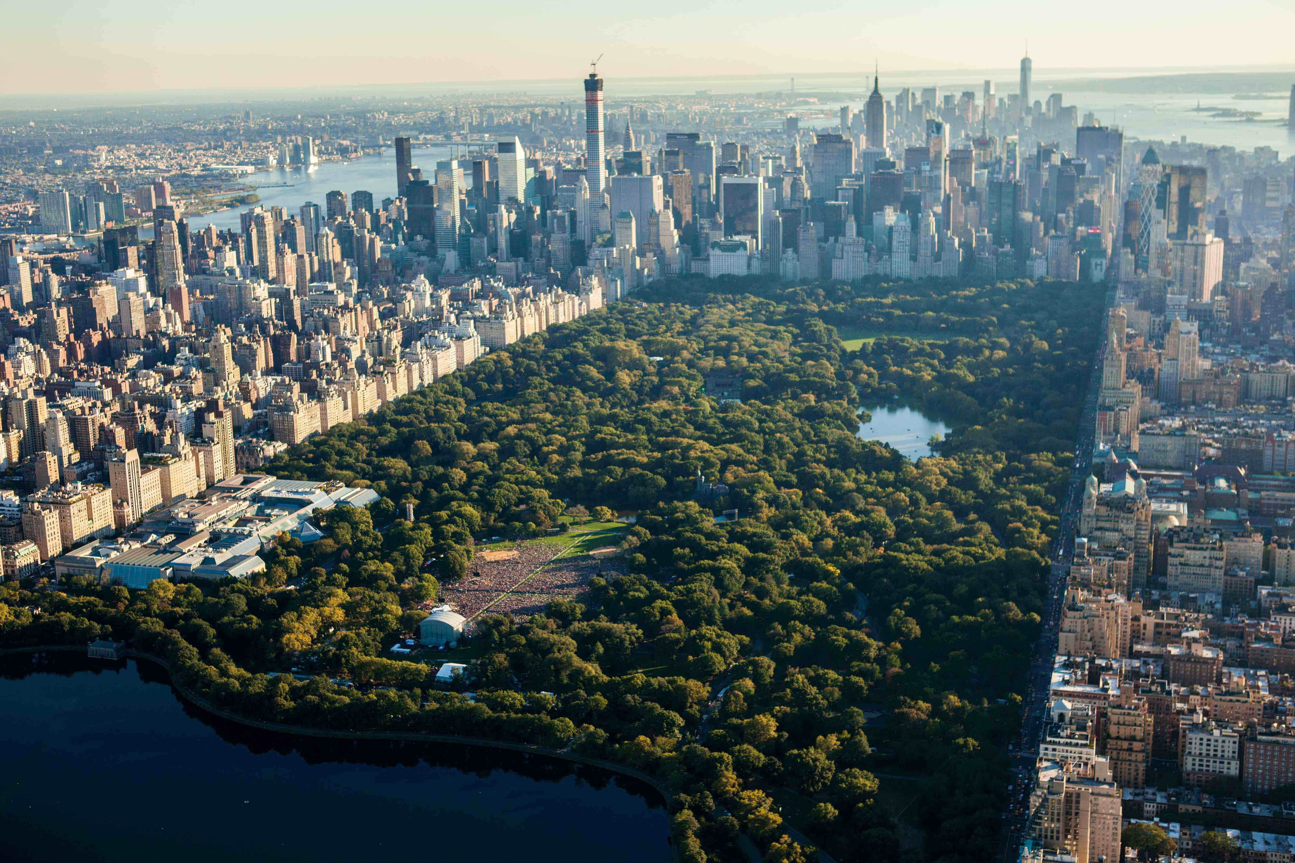 arial view of new york city's central park