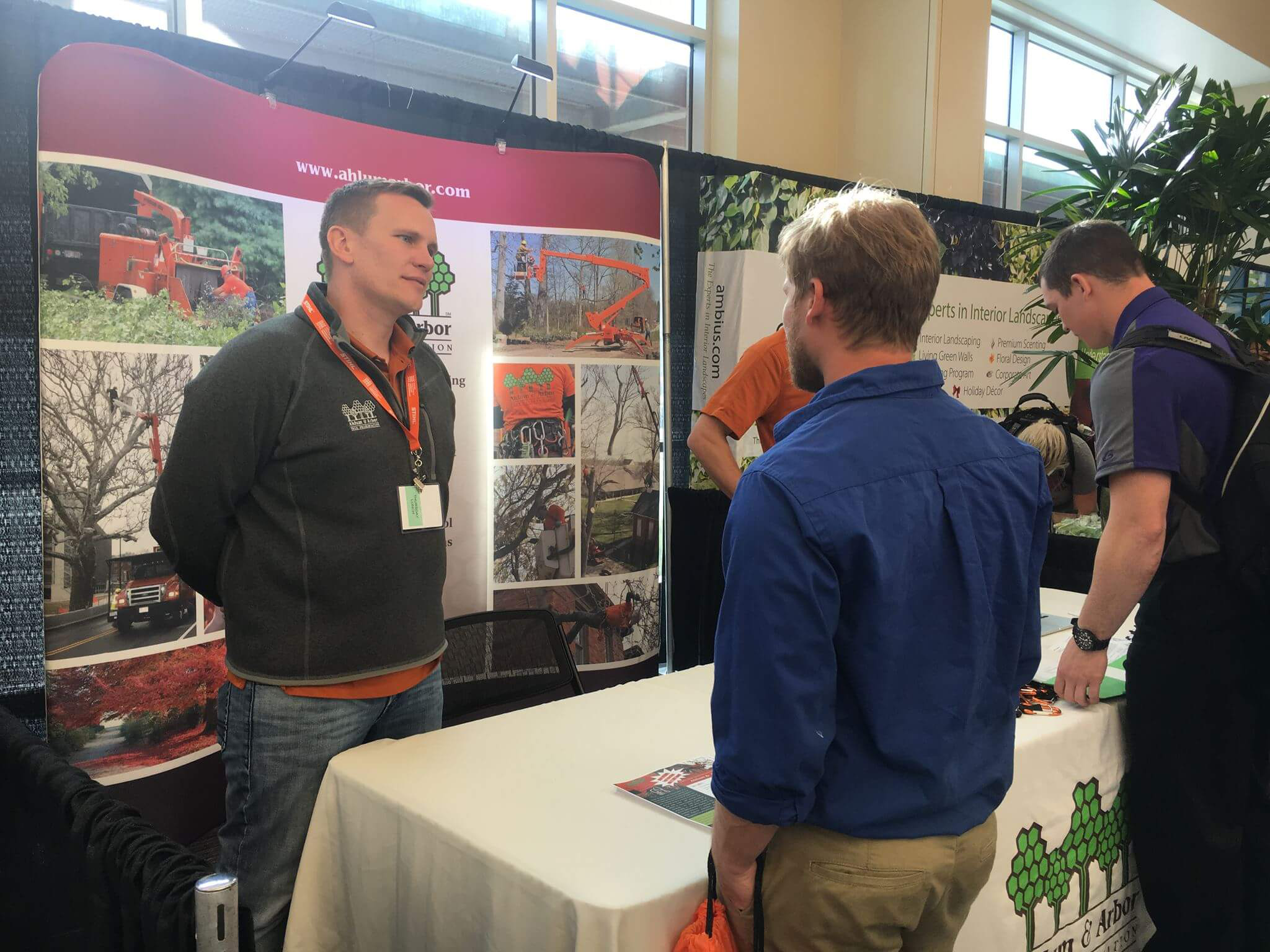 talking with landscaping companies and career fair