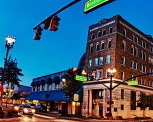 deland florida's beautiful main street at dusk
