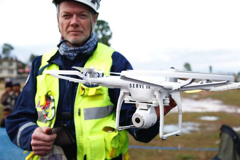 worker hold advanced technology drone