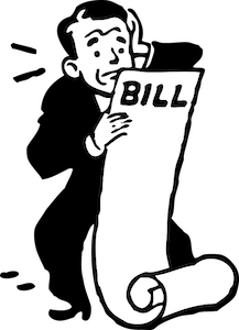 man looking at bill worried with the charges