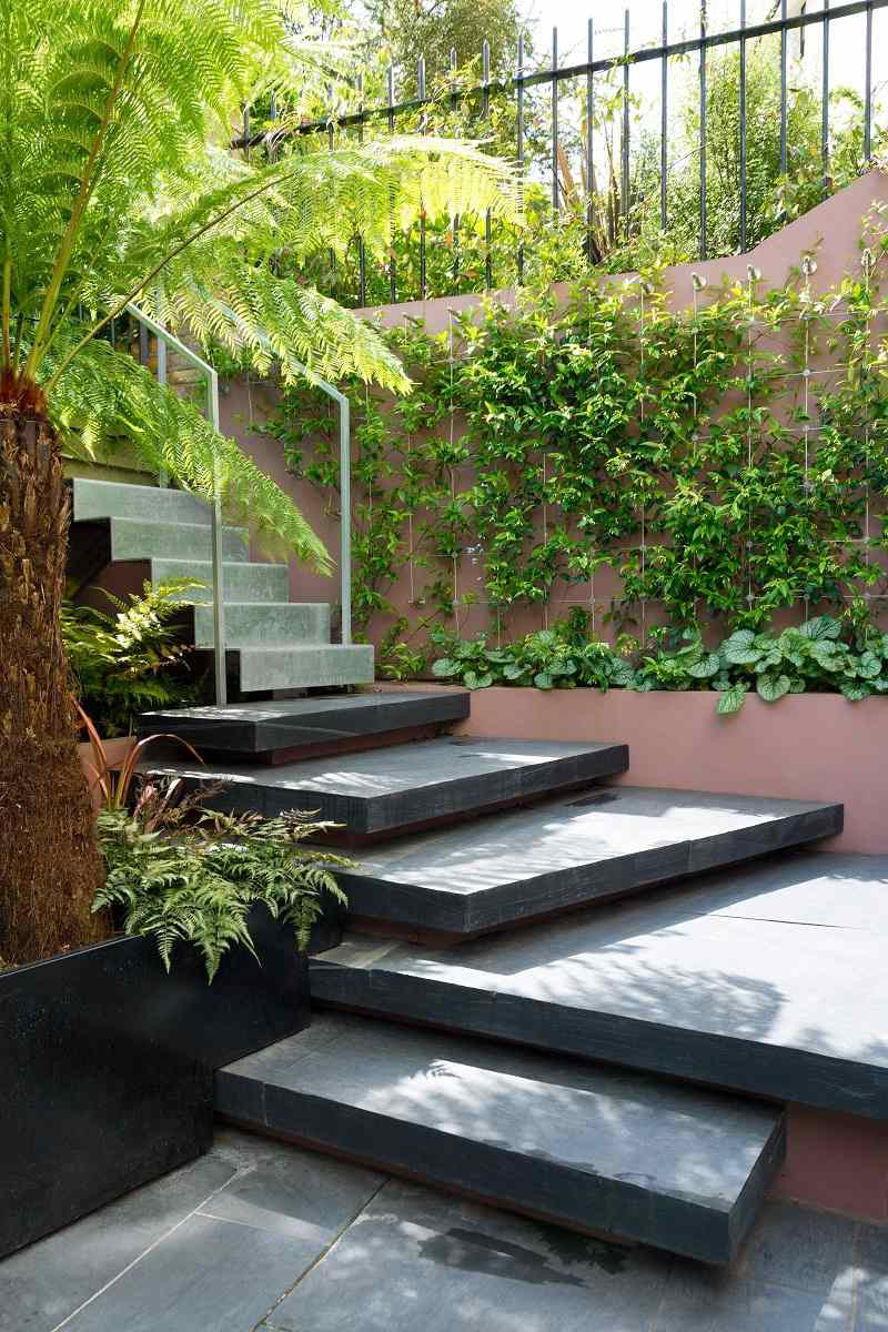 best uk professional landscaping featuring stone steps and green ivy