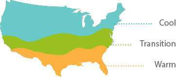 map showing turf graph growing zones cool transition and warm
