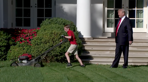 Frank Giaccio focused on mowing white house lawn