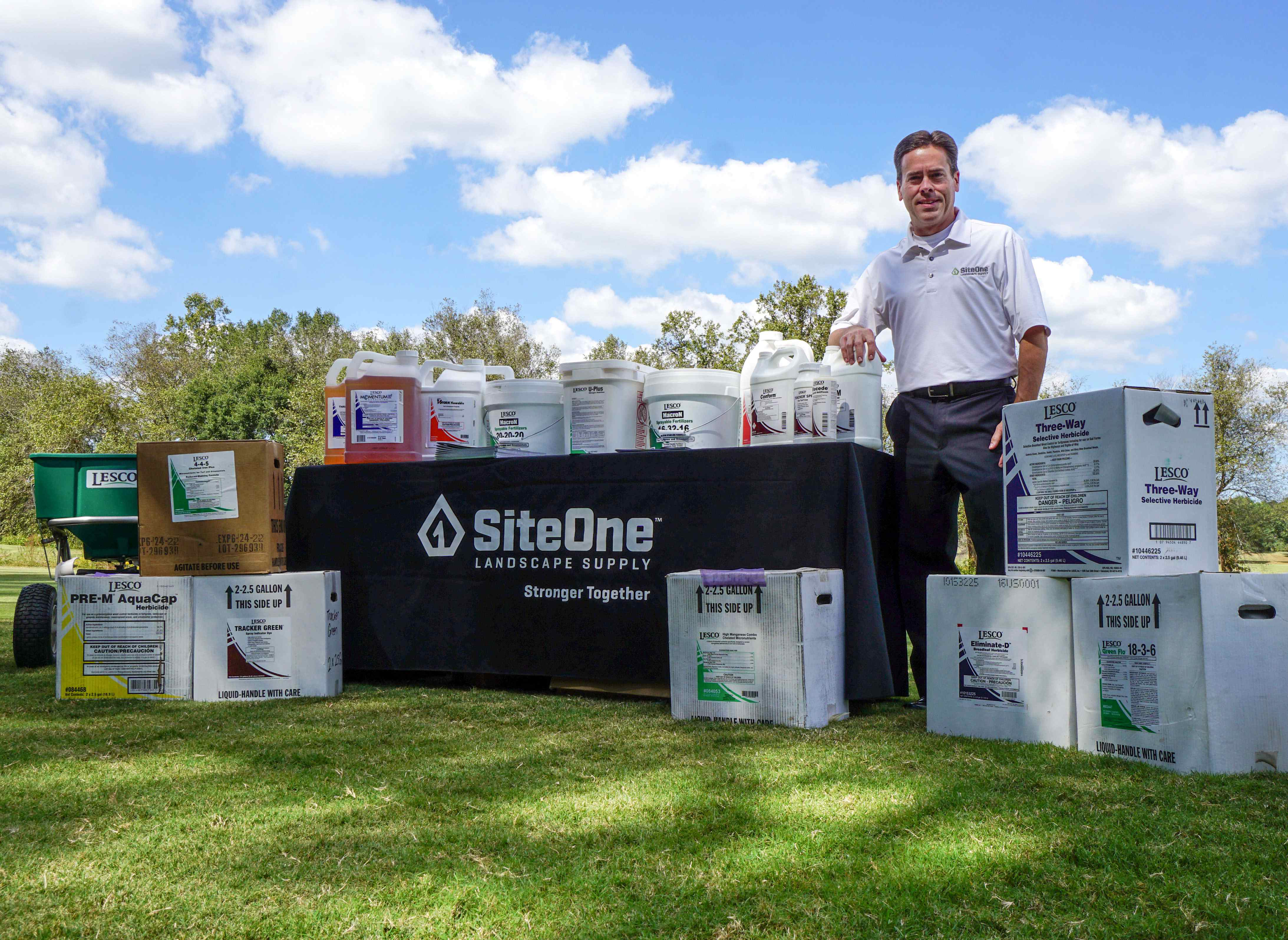 John Gertz with SiteOne landscape supply products