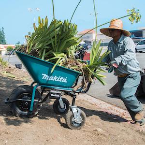 Makita 18V X2 LXT brushless cordless power‐assisted wheelbarrow