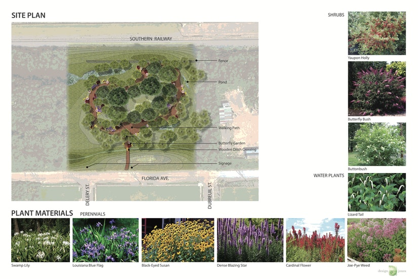 site plan and mock design of wetland park