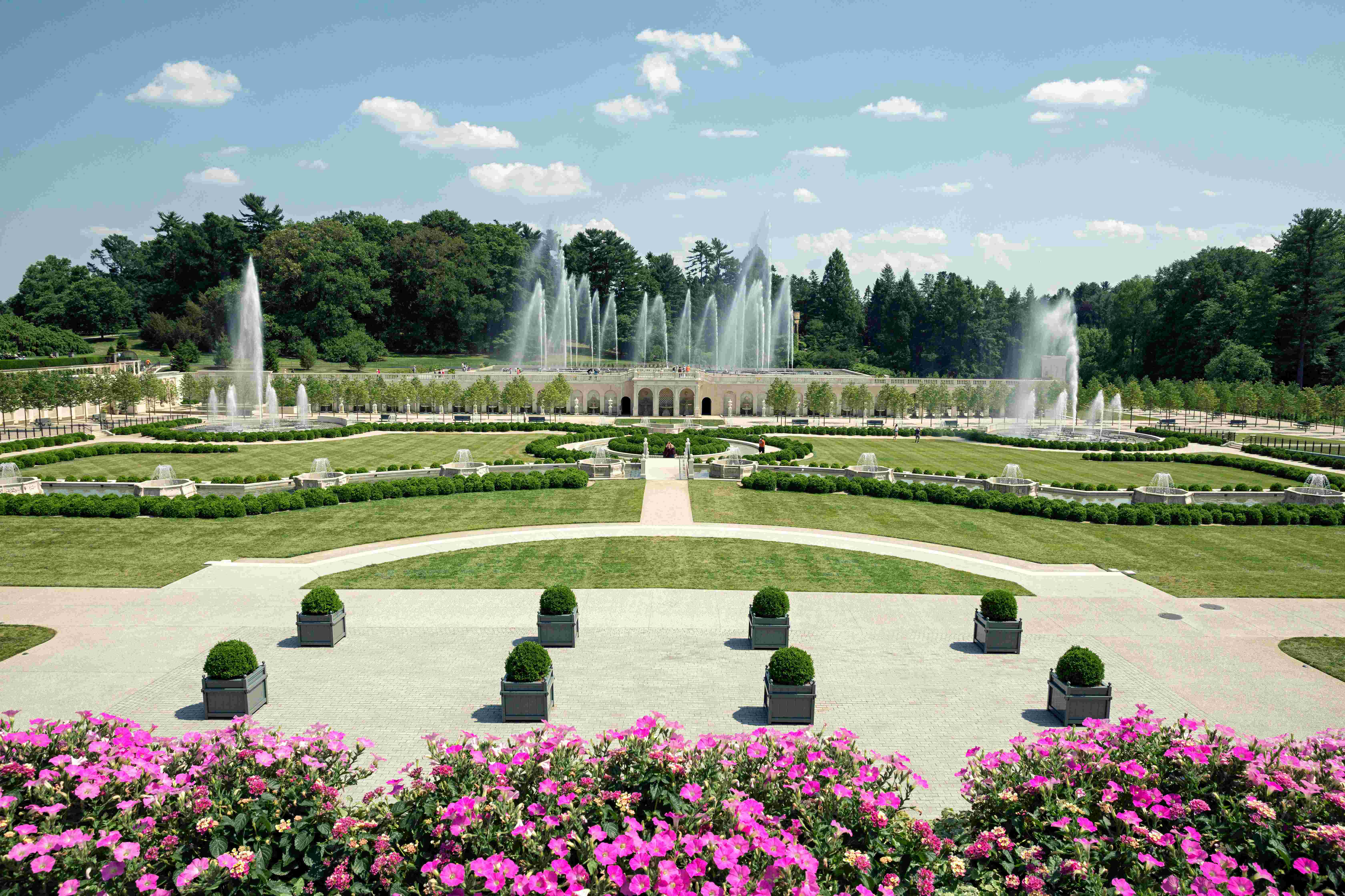 photo longwood gardens beautiful landscape with innovative water features and fountains walk paths shrubs - Live Garden