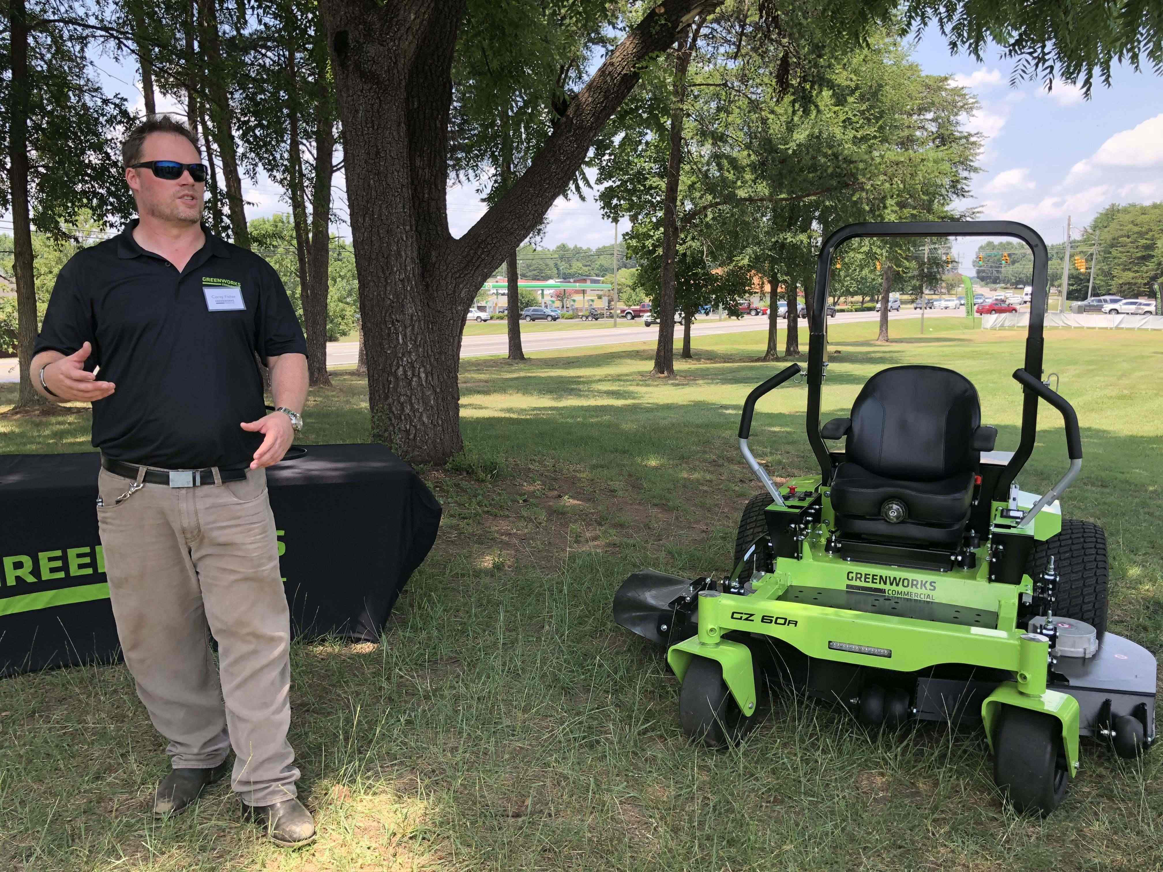 Corey Fisher with Greenworks battery-powered zero-turn mower