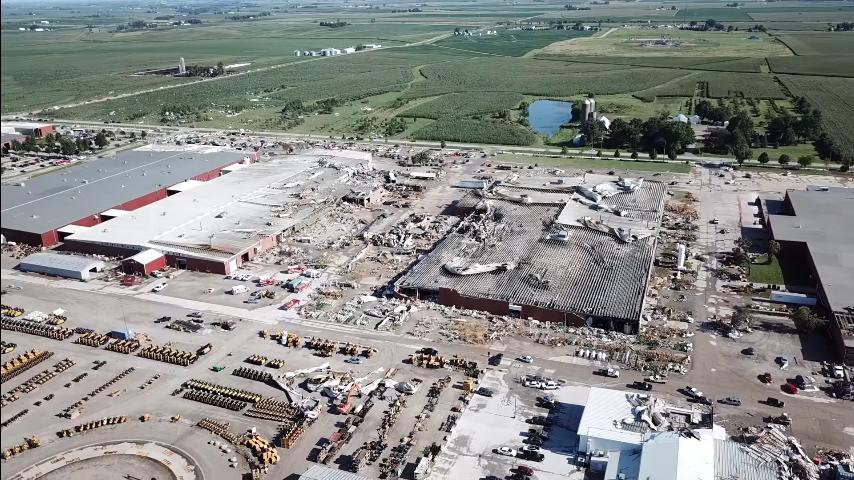 Tornado damage to Vermeer's manufacturing facilities in Pella, Iowa