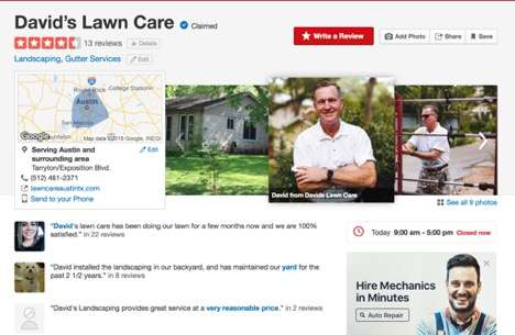 David's Lawn Care screenshot from Yelp