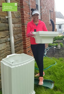 Lisa Jennings conserves the rain water from stormwater runoff