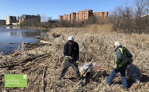 ASLA's Chris McGee and his son Max pick up trash to help the environment