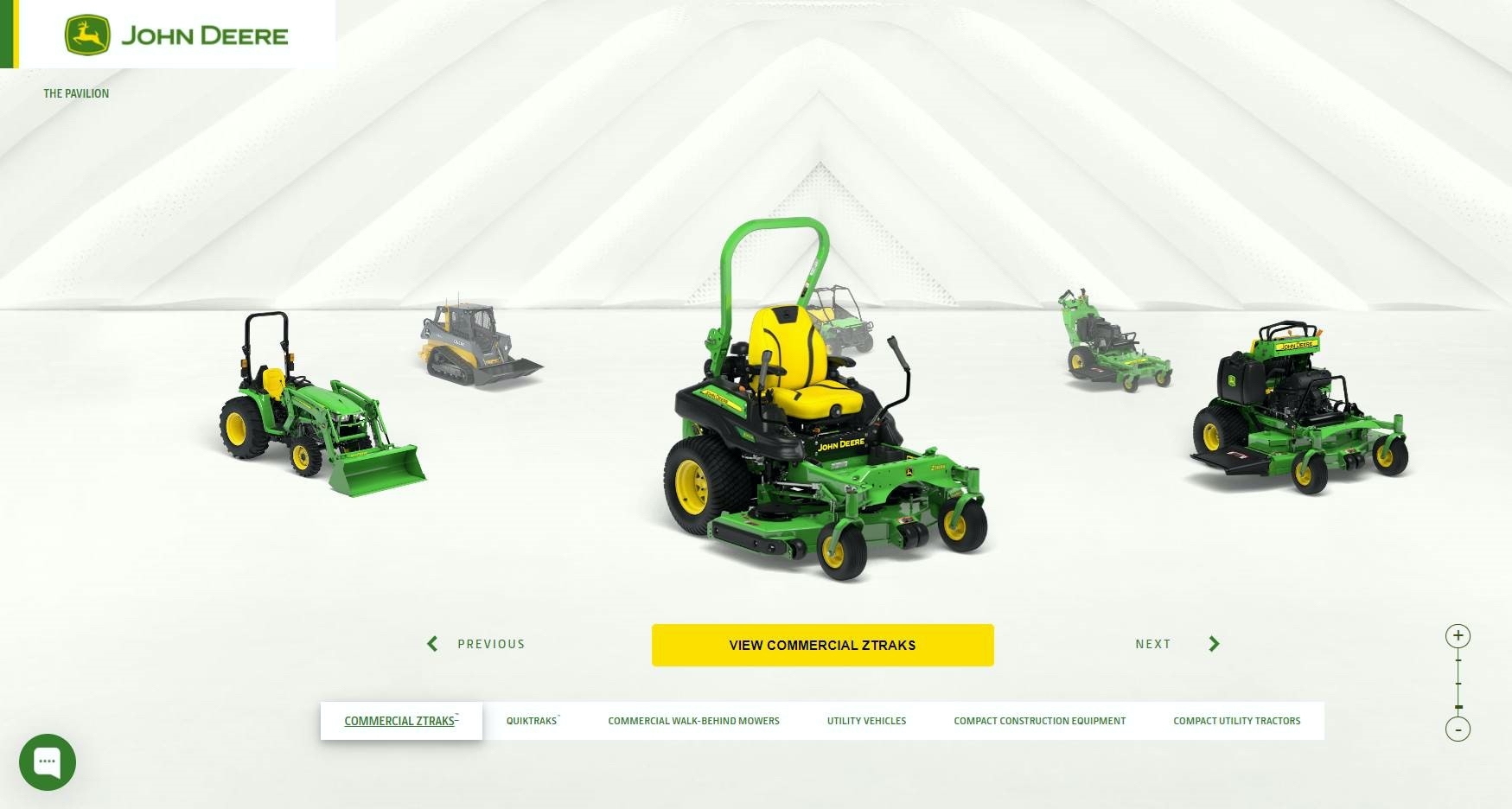 John Deere's interactive equipment gallery for landscaping professionals