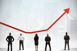 Business people standing in a row analyzing a red arrow